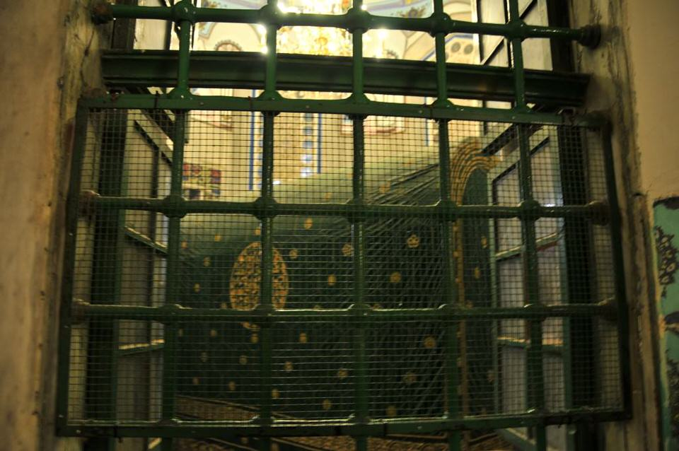 Secured window at the mosque at Hebron, Palestine, Tombs of the Patriarchs